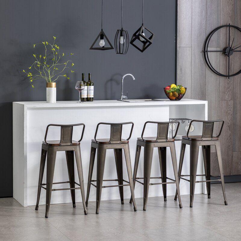 Saleh Solid Wood Bar Counter Stool Counter Stools Bar Stools With Backs Metal Bar Stools