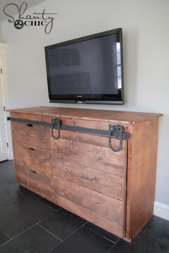 build a sliding barn door console get the free plans at shanty2
