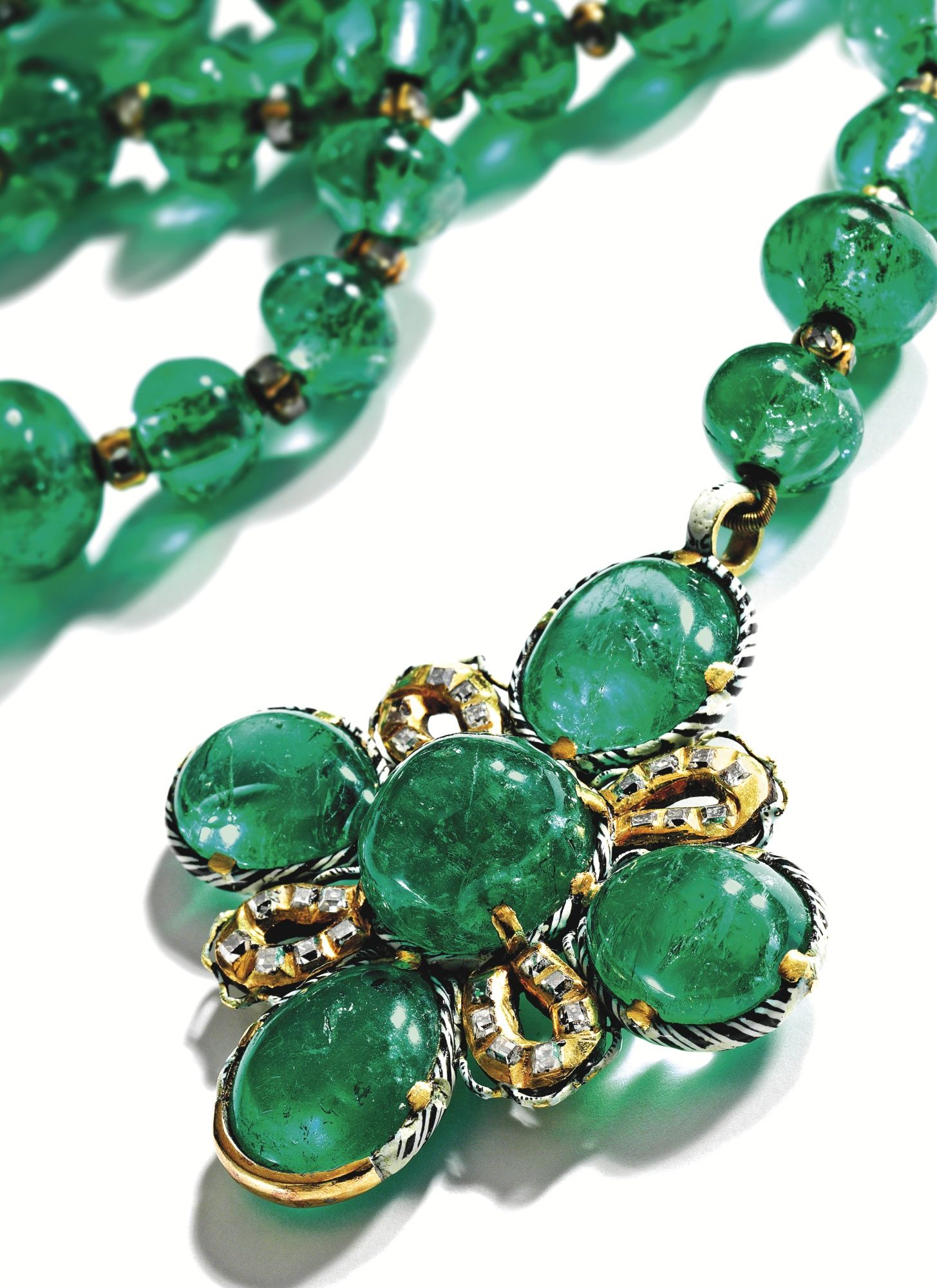 f0095c004 Emerald, Diamond and Enamel Rosary, German, Late 17th Century Composed of  70 emerald beads spaced by gold rondelles set with table-cut diamonds, ...