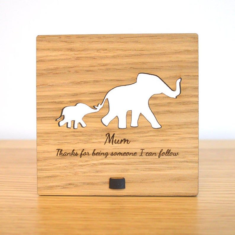 Elephant Mother and Child Wooden Plaque - Personalized Mothers Day Sign for Mum Mummy - Personalised Elephants Gift Present Idea Mummy Baby