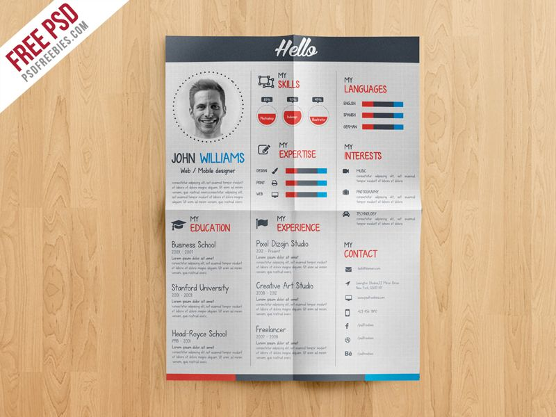 Freebie creative resume cv template free psd yelopaper Image collections