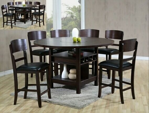 2849t 7 Pc Conner Dark Wood Finish Round Counter Height Round Drop Leaf Dining Table Set Round Dining Table Sets Brown Wood Dining Table Counter Height Dining Sets