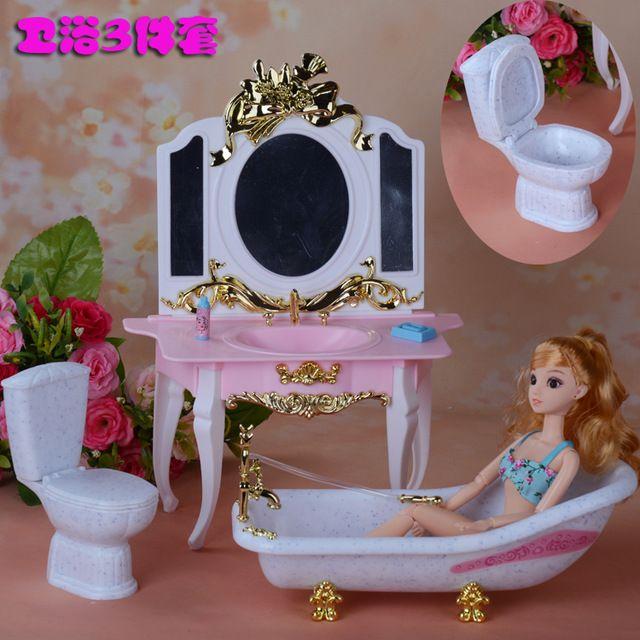Muebles Juego De Tocador Baño Baño De La Suite Para Barbie Toys Doll 1 6 Casa Mejor Regalo Para La Muchac Muñecas Barbie Baño De Barbie Juguetes Para Niñas