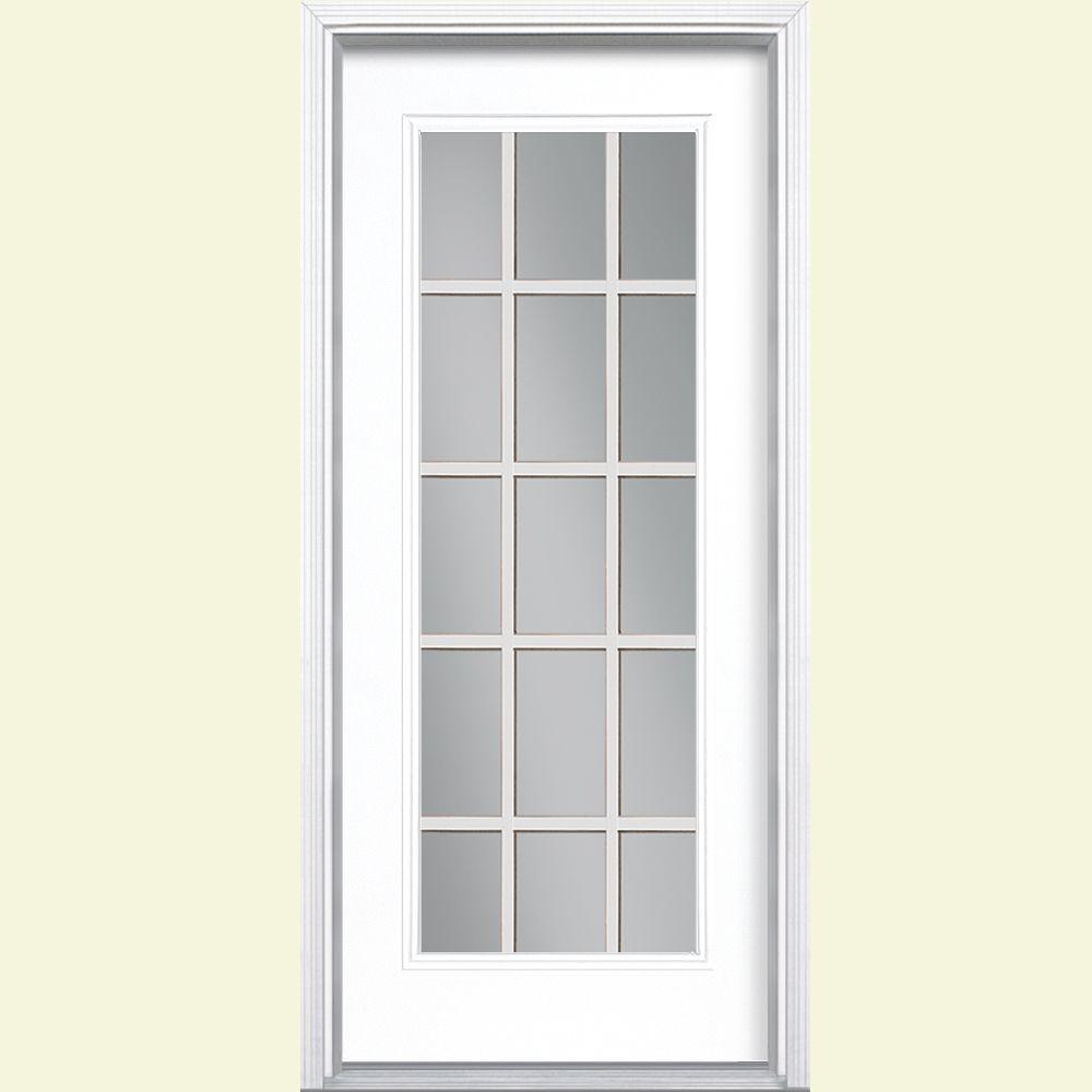 Masonite 32 In X 80 In Ultra White 15 Lite Left Hand Clear Glass Painted Steel Prehung Front Door Brickmold Vinyl Frame 26400 Exterior Doors Exterior Front Doors Entry Doors