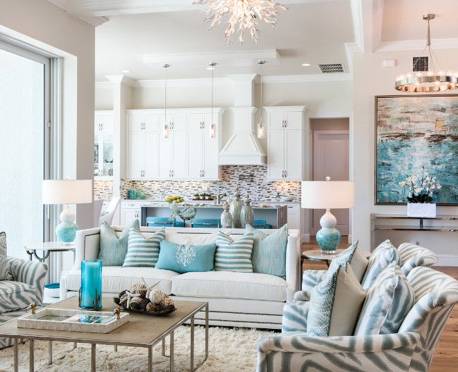 99 Beautiful White And Grey Living Room Interior: Grey Interiors With White Cabinets And Turquoise Decor