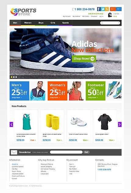 Sports Store Magento Theme   Shoes, Clothes and Shoe websites