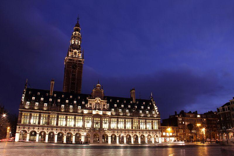 Library of the Catholic University of Leuven  at night.
