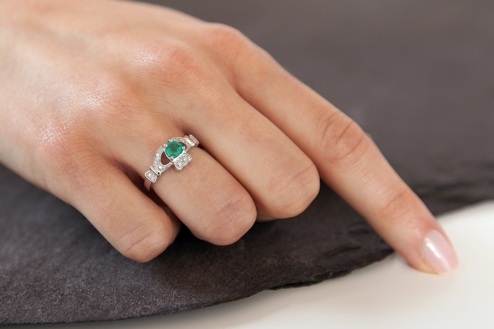 Claddagh Engagement Ring 14K White Gold Diamond & Emerald