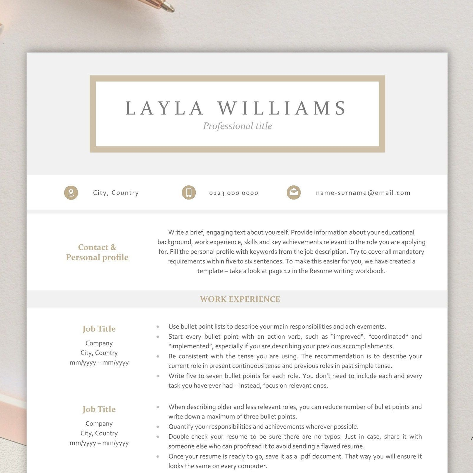Modern resume template for word instant download resume