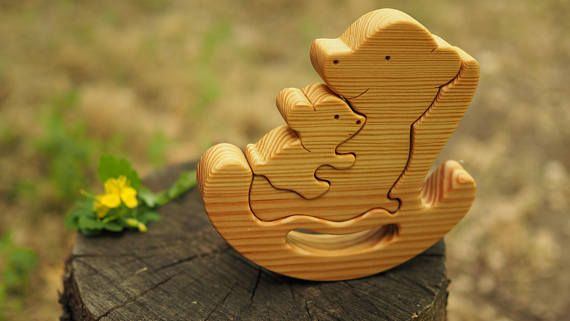 Wooden balance toy, kids gifts, bear mommy + baby, Montessori materials, wood animal puzzle, Waldorf toy, bear family, baby toys, toddler