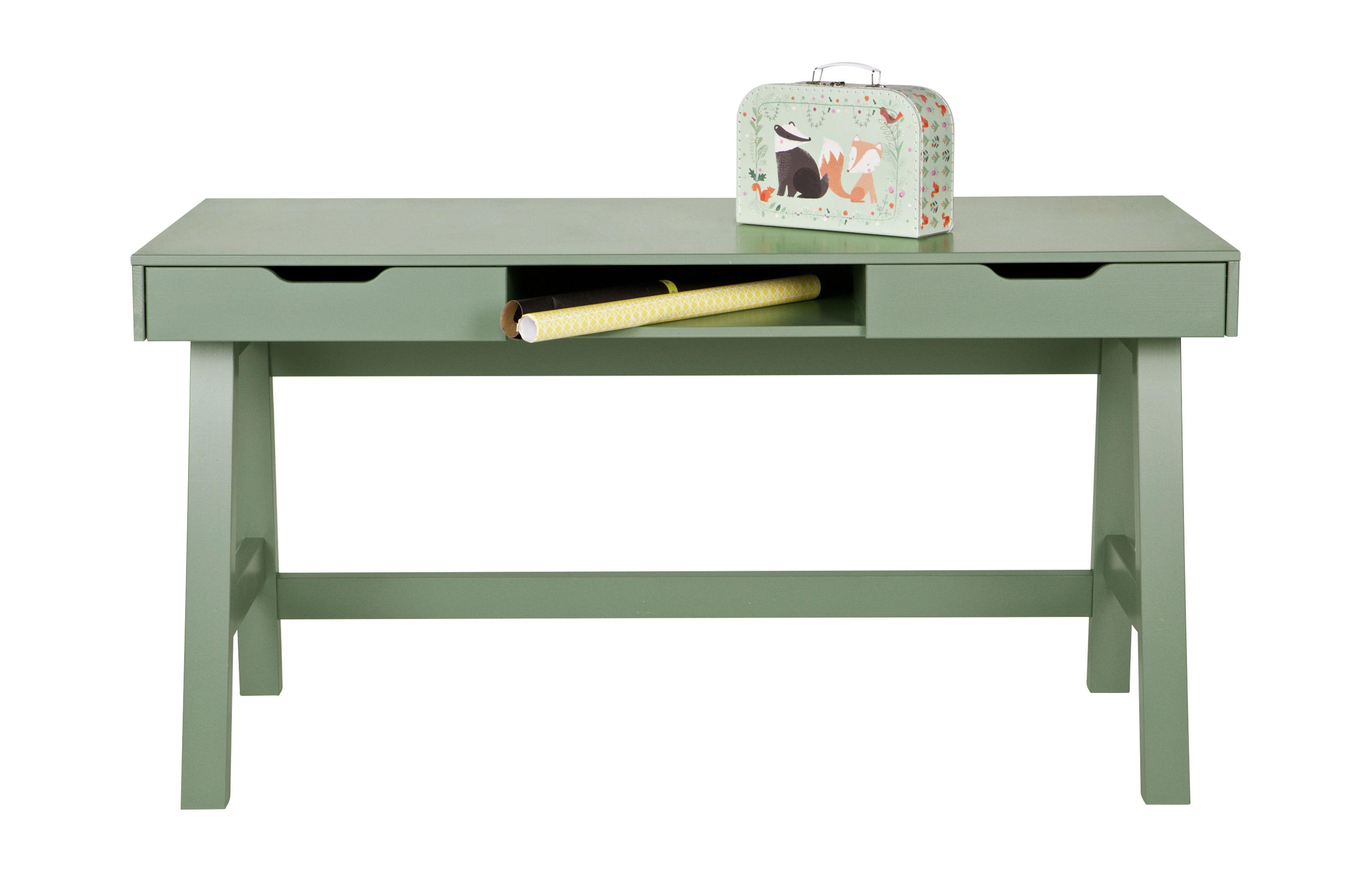 Nikki industrial home office desk in pine green industrial vintage