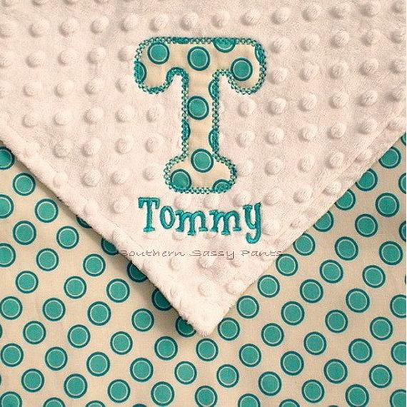 Personalised Baby Blanket Appliqued Letter Design