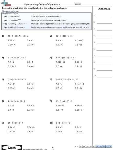 Order of Operations (PEMDAS) Worksheets Listed in common ...