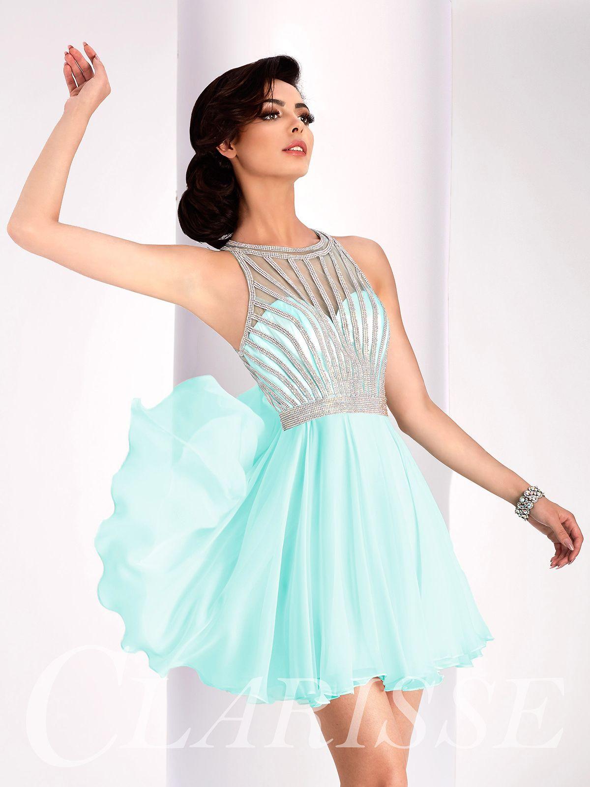 64ece747b74 Short flowy open back pastel mint homecoming dress