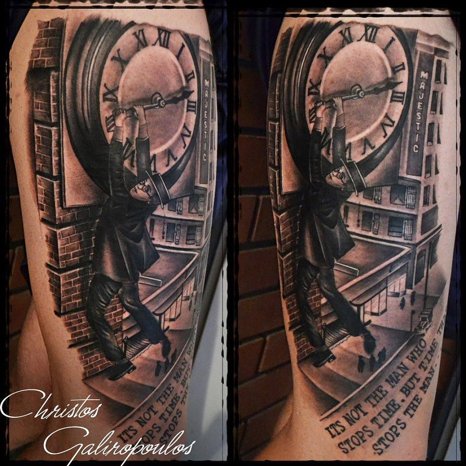 Harold Loyd tattoo Harold Loyd hanging from the hands of