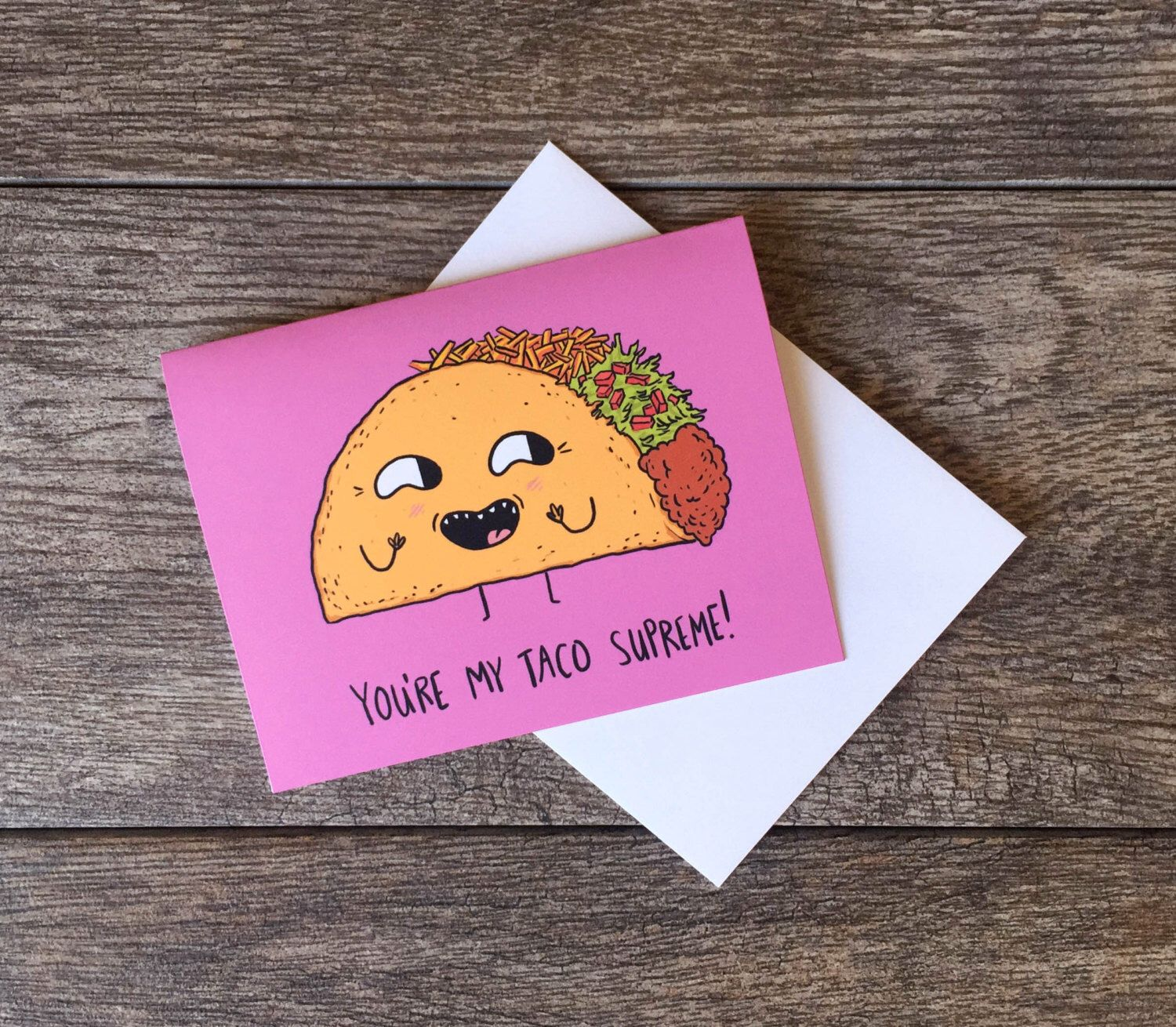 Taco Greeting Card by beeisforbear on Etsy https://www.etsy.com/listing/224939888/taco-greeting-card