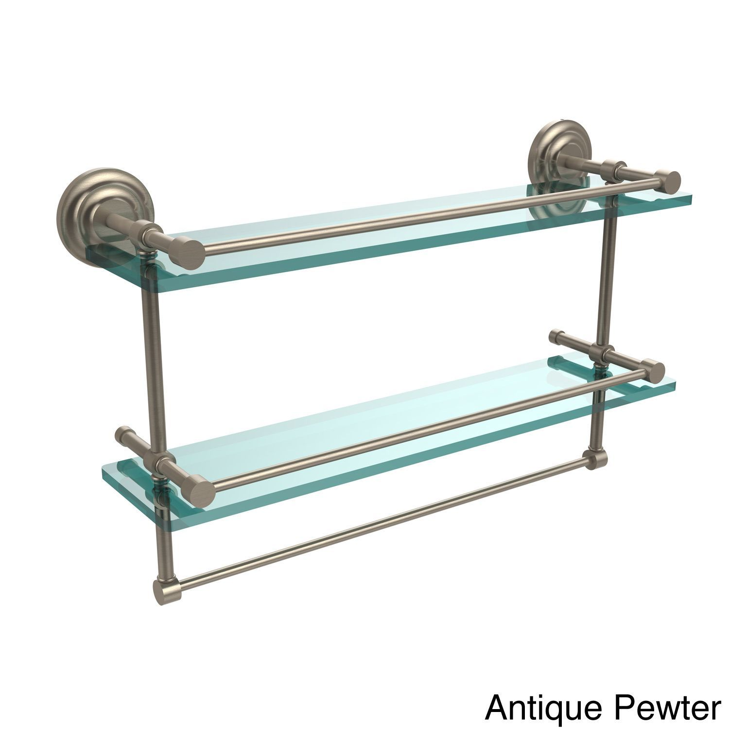 Allied Brass Que New Collection 22-inch Gallery Double Glass Shelf with Towel  Bar (Polished Chrome), Clear, Size 22