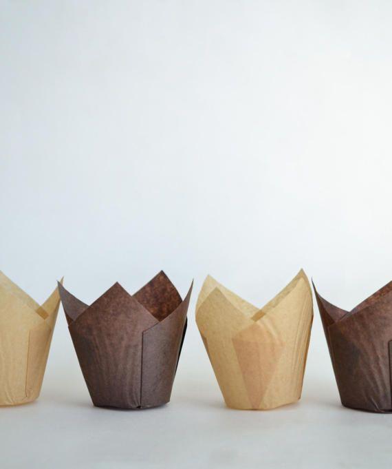 Tulip Cupcake Liners Natural Baking Cups Chocolate Brown Paper