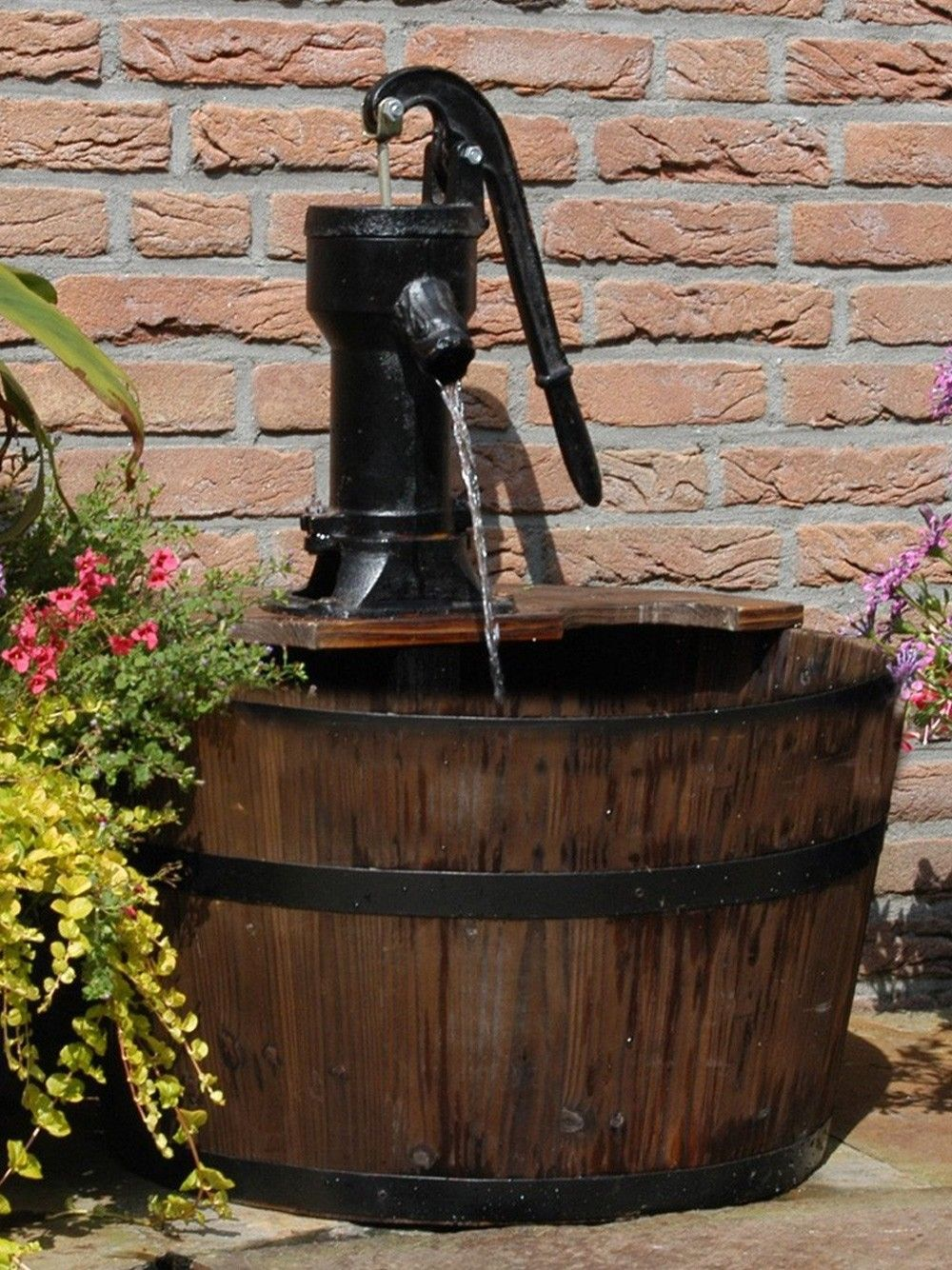 Garden water features solar power  The Newcastle Wooden Barrel Water Feature is a traditional wooden
