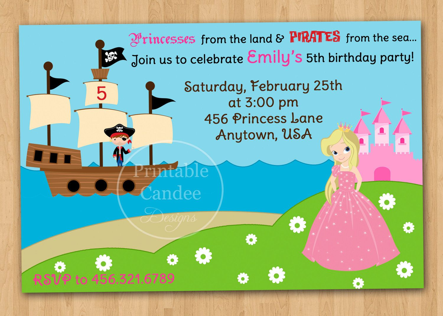 Personalised Princess /& Pirates Birthday Party Invitations Party Invites
