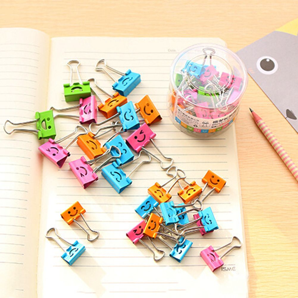 40Pcs 19mm Metal Binder Clips Small Smile Face Shaped