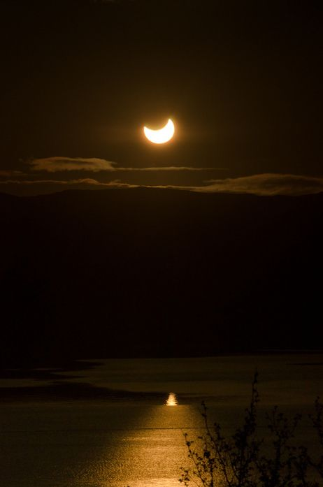 A solar eclipse at midnight, in Tromsø, Norway