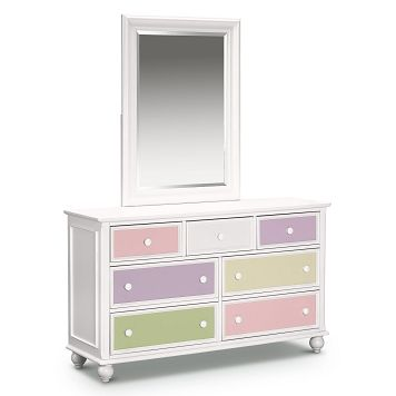 Colorworks White Kids Furniture Dresser & Mirror - Value ...