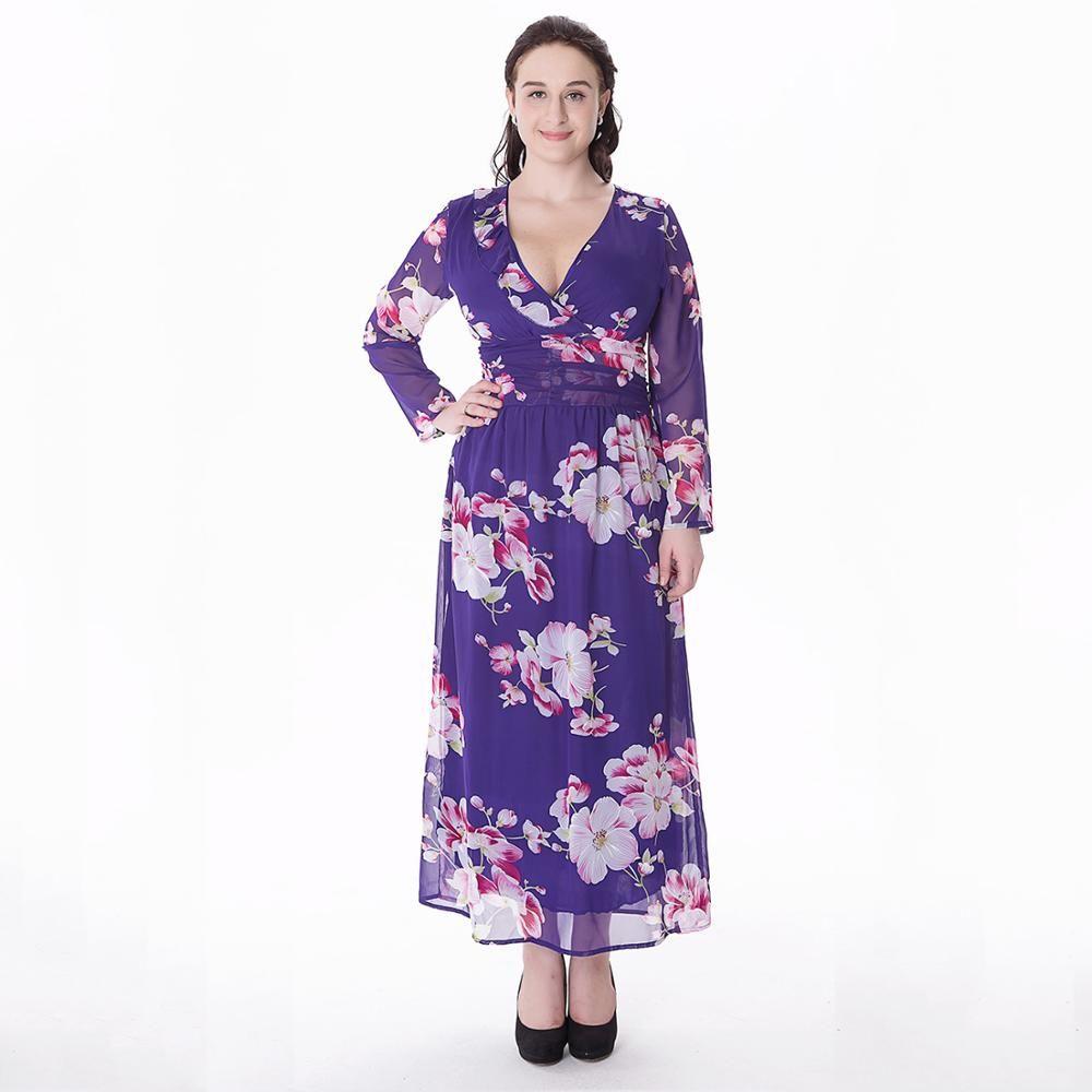 Plus size xlxl europe women maxi dresses spring fashion