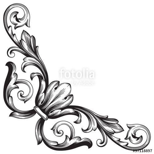 vintage baroque frame scroll ornament engraving border floral retro rh pinterest co uk filigree vector download vector filigree free download