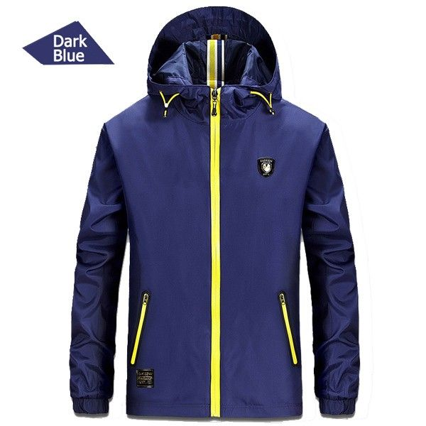 Outdoor Sports Hooded Water Repellent Windbreak Jacket Solid Color Lightweight Coat In 4 colours. From 39,95 for Euro 18,05