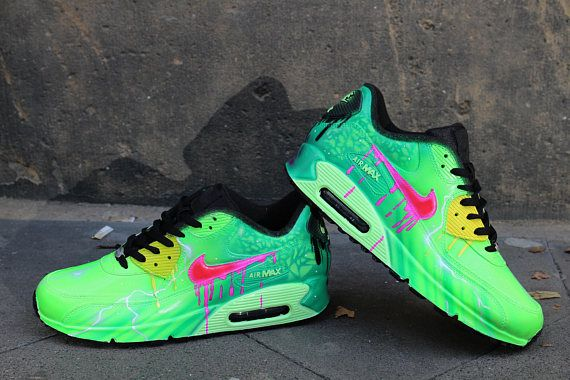 5c41a07bc4ad8 Original Nike Air Max 90 Leather Customized as seen in the Pictures  Handpainted with specific leather