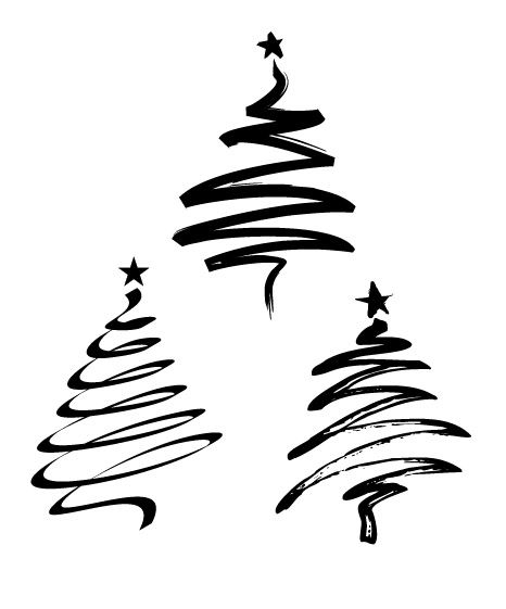 Totally Vector Xmas Trees Zip File Contains Illustrator Eps V 8 And Illustrator Ai V 7 For Coreldraw Christmas Drawing Xmas Tree Xmas