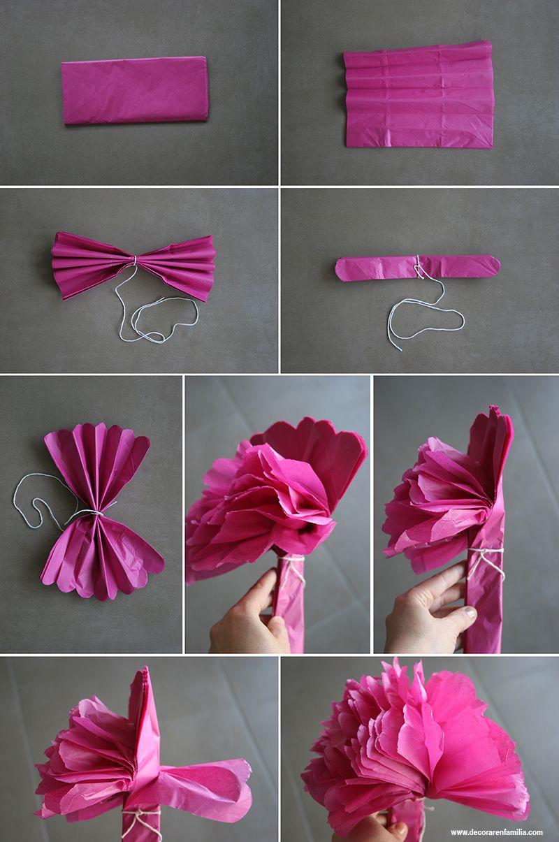 Decorar con pompones de papel de seda hazlo t mismo - Pompones con papel de seda ...