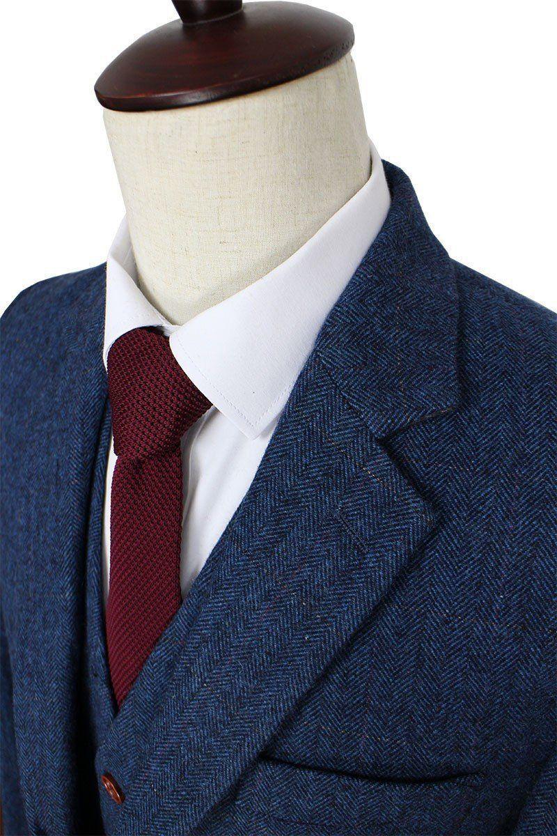 948954465a33 3-Piece Suit Herringbone Tweed Suit Blue Mens Suit
