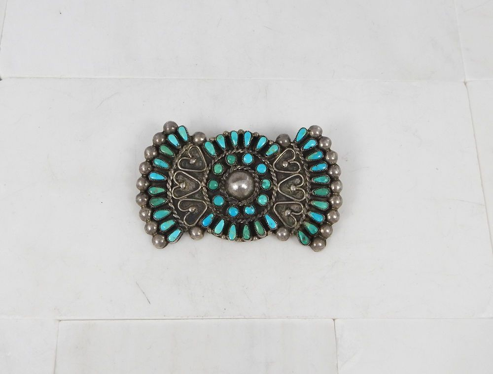 OLD PAWN- Zuni, Sterling & Turquoise Petit Point Manta Pin C. 1930-40s