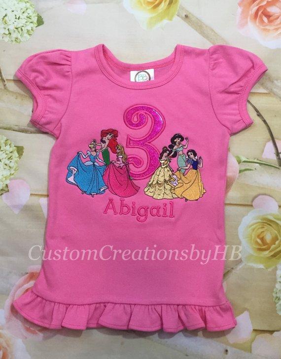 Disney Princess Inspired Birthday Shirt Princesses Personalized E