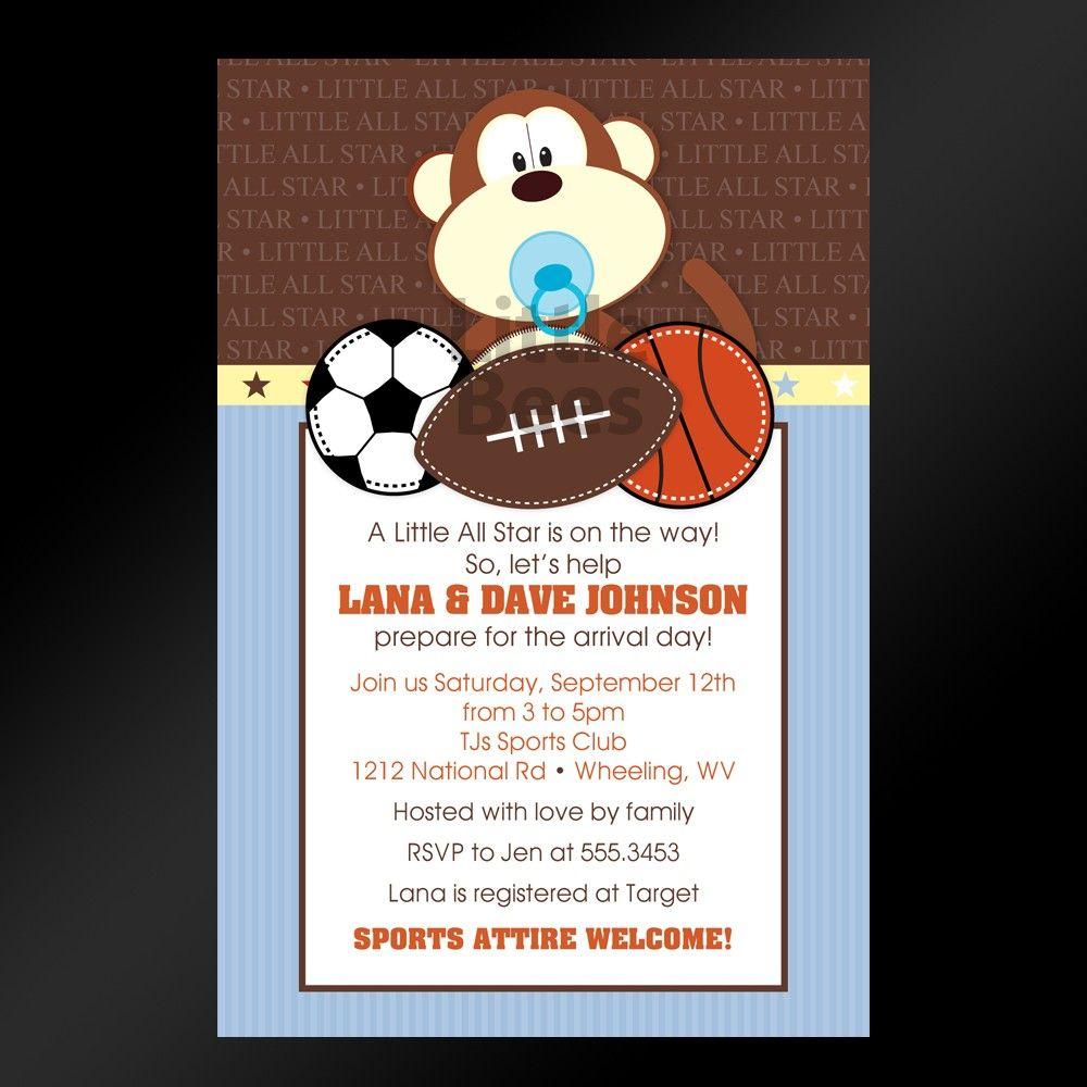 Free Printable Baby Shower Invitations Jungle Sports Printable