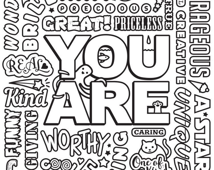 Downloadable You Are Motivational Quote Coloring Page Etsy Quote Coloring Pages Words Coloring Book Swear Word Coloring Book