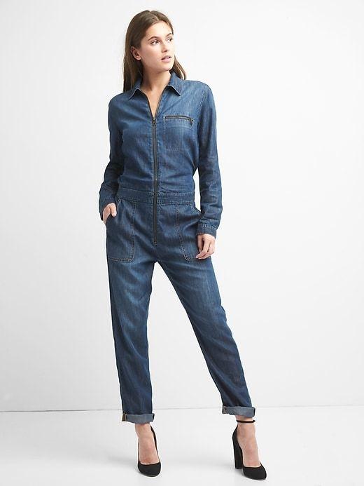 468e71f69502 Gap Womens Denim Utility Jumpsuit Blue   Products   Jumpsuit ...