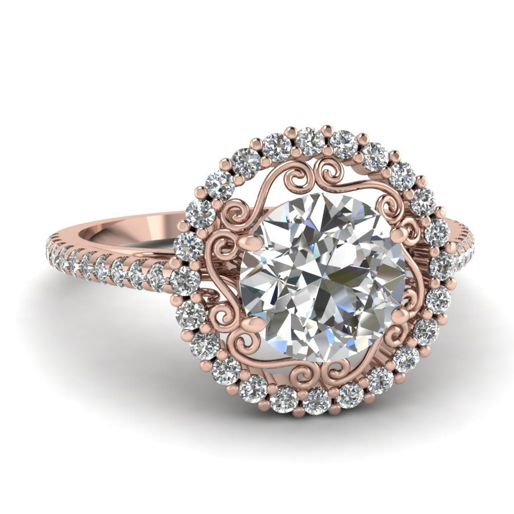 Micropave Halo Ring Engagement Rings RoundRose Gold