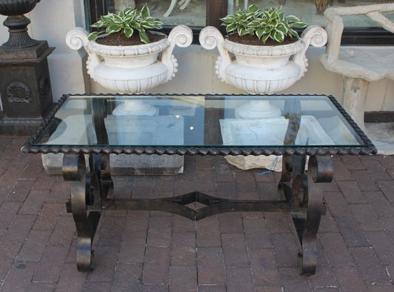 French Vintage Wrought Iron Coffee Table With New Glass Top