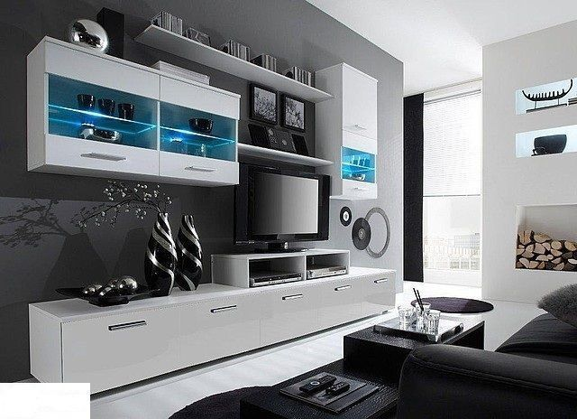 HIGH GLOSS TV CABINET / TV WALL UNIT / TV STAND LED\'s | eBay ...