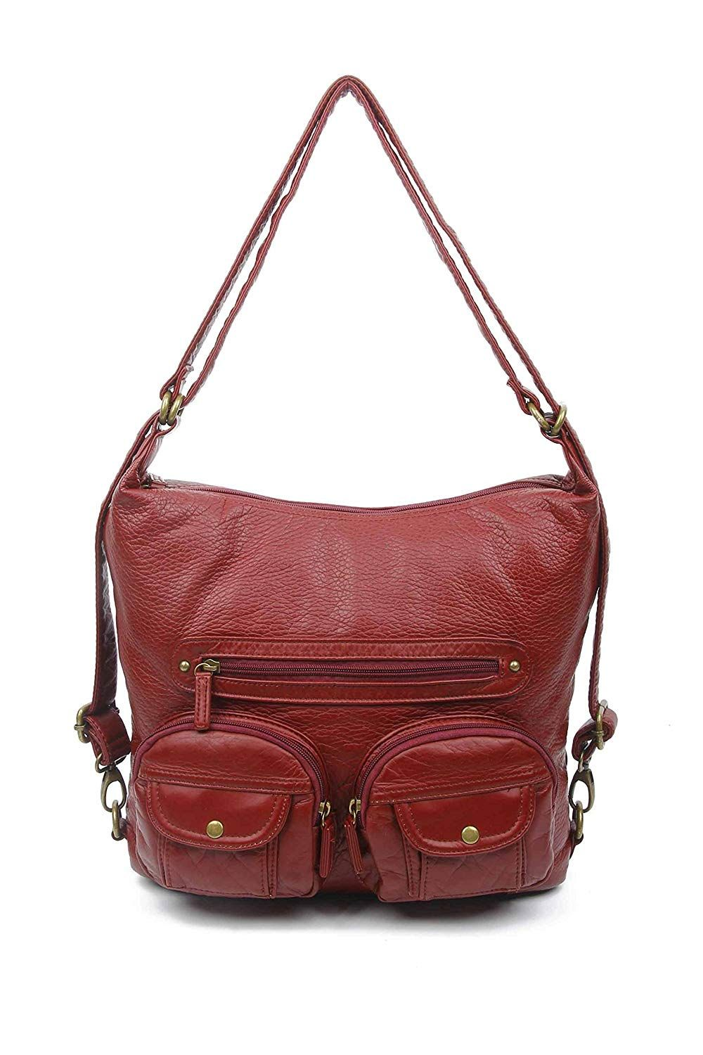 Both Backpack and Shoulder Bag in Soft Vegan Leather Convertible Purse
