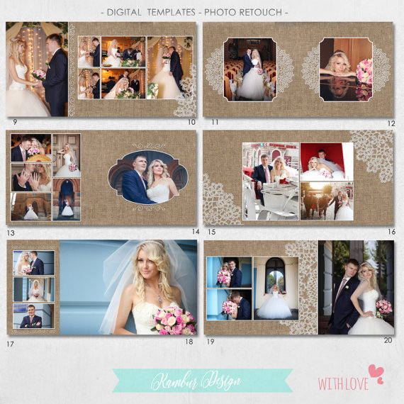 12x12 10x10 Psd 40 Pages Wedding Al Template 20 Spread Cover Vintage Canvas Lace