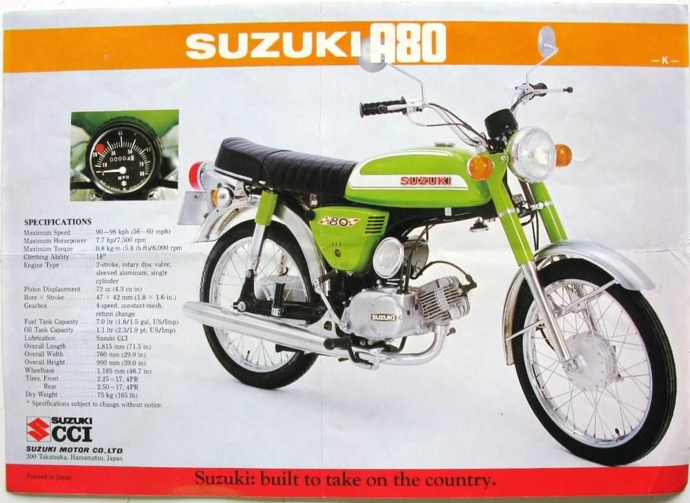SUZUKI A80/ A100 Motorcycle Sales Sheet 1970s in