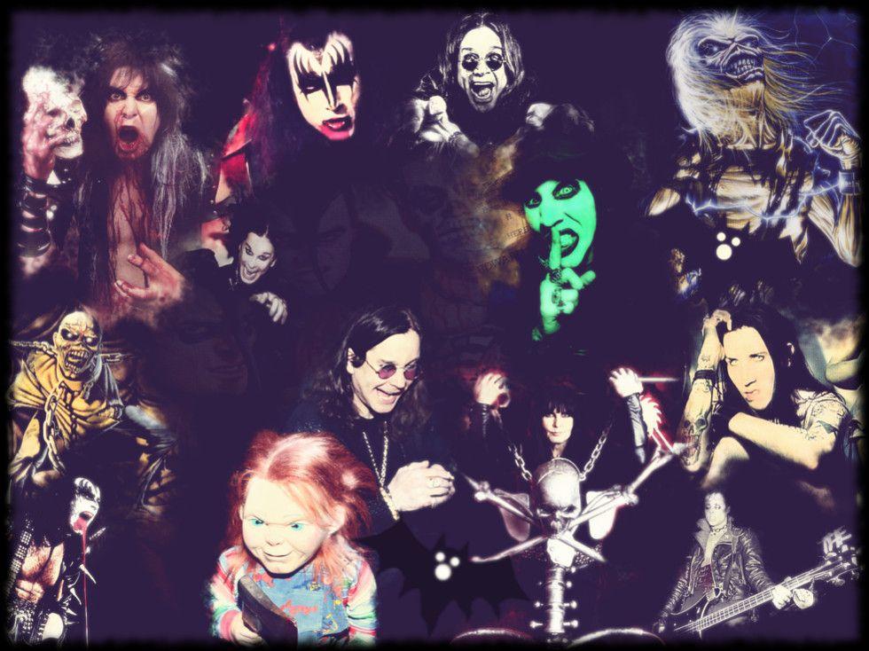 Artwork con rockeros terroríficos para una lista de #canciones para una fiesta de #Halloween