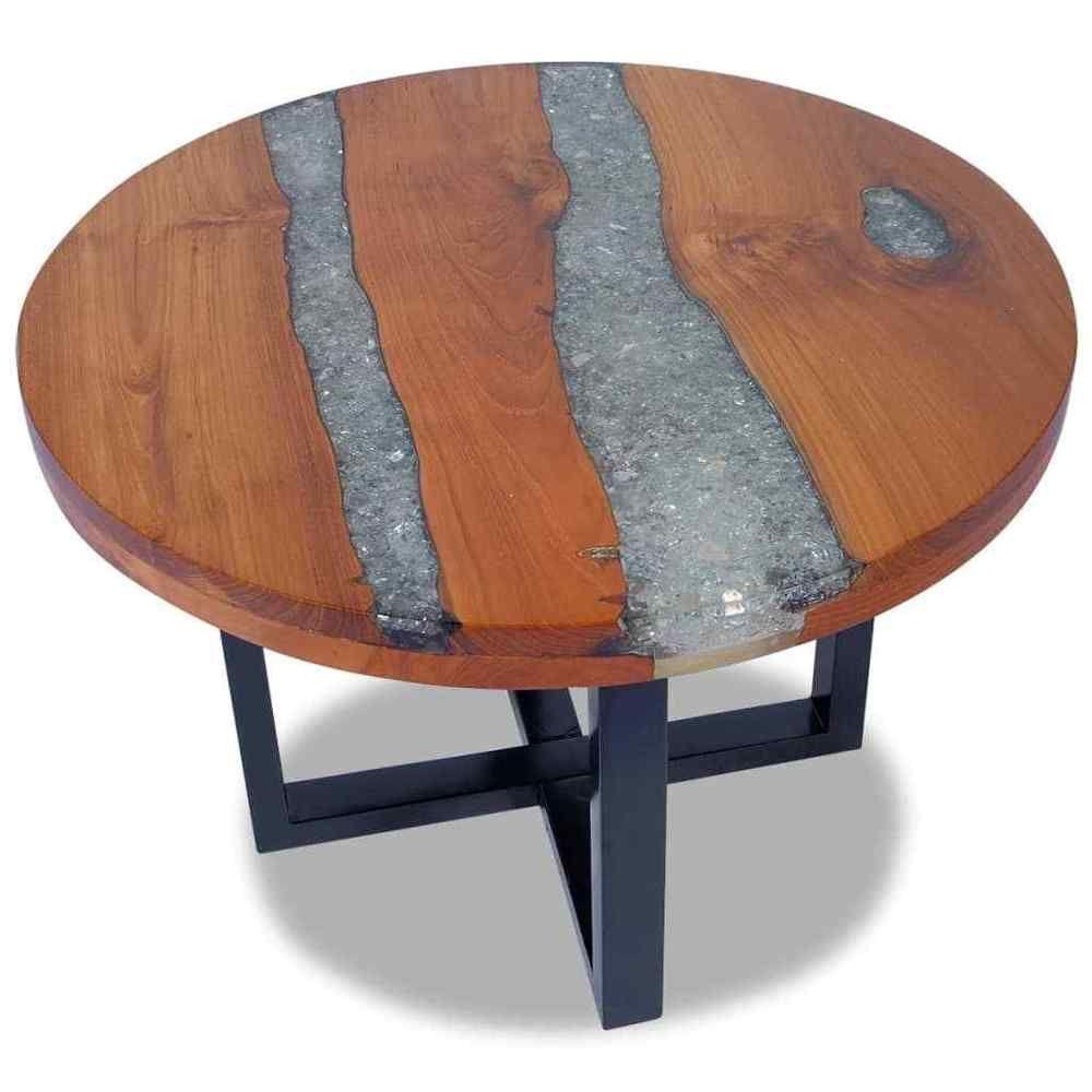 Round coffee table mango wood frame black paint finish living room furniture