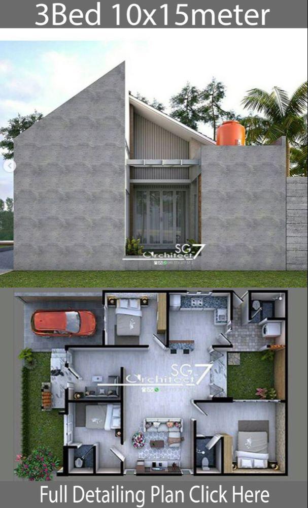 10x15 Room: 3 Bedrooms Home Design Plan 10x15m