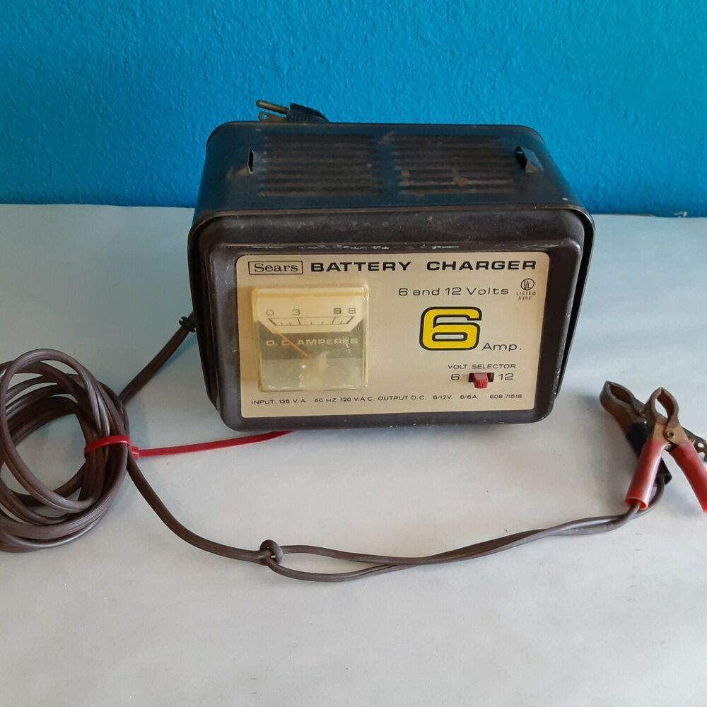 Vintage Sears 6 Amp 6 12 Volt Battery Charger 608 71518 Sears Battery Charger Charger Ebay