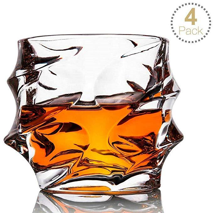 Amazon Com Whiskey Glass Set Of 4 Rocks Style Toplanet Crystal